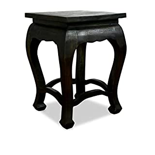 livasia Asian Opium Table, Coffee Table, Handmade Thai furniture, Stool, Plant Stand, Side Table (Black)