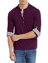 Elaborado Men's Henley Neck Tshirt - Imperial Purple