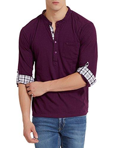 Elaborado Men's Cotton Long Sleeve Top (Eotr1062Ip3_Purple_Large)