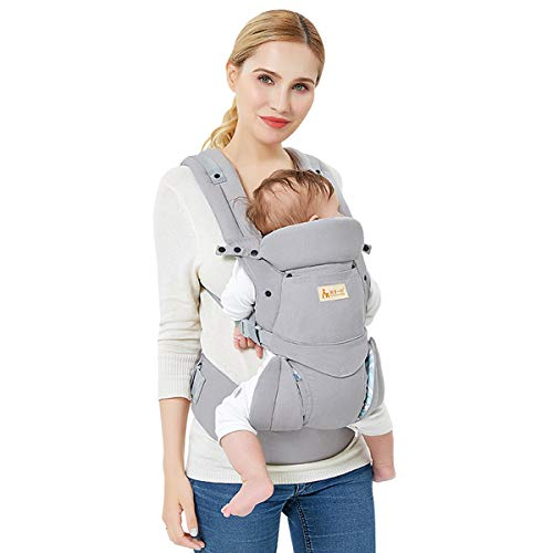 Porte Bébé Ergonomique Premium Hipseat Baby Carrier Respirant en Maille Multi-positions Ajustable pour Bébé Nouvelles Nés Petits Enfants (Coton)