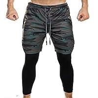CBTLVSN Mens Sports Shorts 2 in 1 Training Running Basketball Tights Pants 1 L