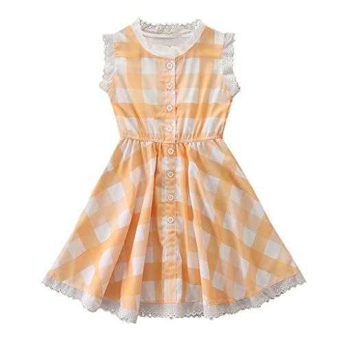 Gelbes Langarm-strampelanzug (squarex  Mädchen Kleidung Ärmelloses Kleid Kleinkind Kariertes Spitzenkleid Kinder Prinzessin Rock Baby Party Kleid Sommer Bequemes Kleid Beiläufiger Rock)