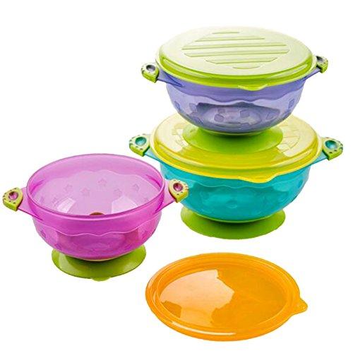 ETASSO 3PCS Spill Proof-Staubsaug Bowls mit Seal-Easy Lids Stapel Baby-Schalen sitzen bleiben