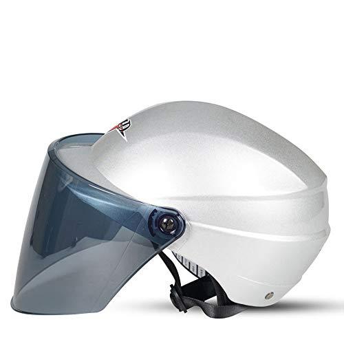 Helm Elektrischer Motorradhelm Männer und Frauen Vier Jahreszeiten Halbe Sonnenschutz UV (Farbe : B, größe : 3#)