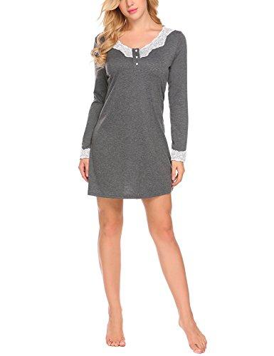 Schiesser Damen Sleepshirt langarm hellgrau geringelt