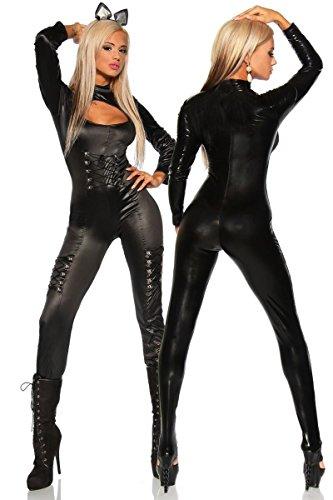 Katze Schwarze Für Erwachsene Kostüm Sexy Damen - Sexy Katzenkostüm Kostüm Katze Overall-Kostüm Overall Katzen Damenkostüm für Damen schwarz, Größe Atixo:2XL-3XL