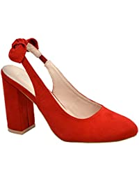 c6731dc175 New Womens Ladies Sling Back Pumps High Block Heels Comfy Fashion Shoes  Size UK
