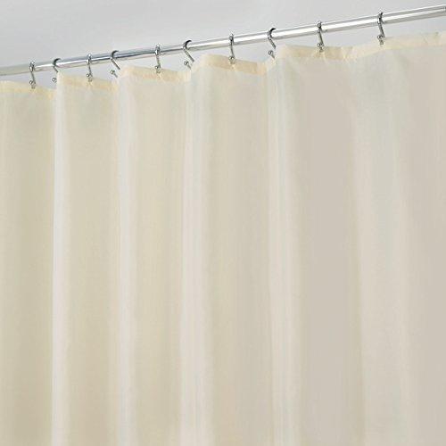 mDesign Duschvorhang Anti-Schimmel - 180 cm x 200 cm - schlichter Dusch- & Badewannenvorhang - Duschvorhang wasserabweisend - 12 verstärkte Metallösen - Farbe: sand