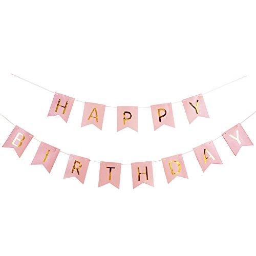 hday Girlande Geburtstag Girlande mit Gold Folien Buchstaben (Rosa) ()