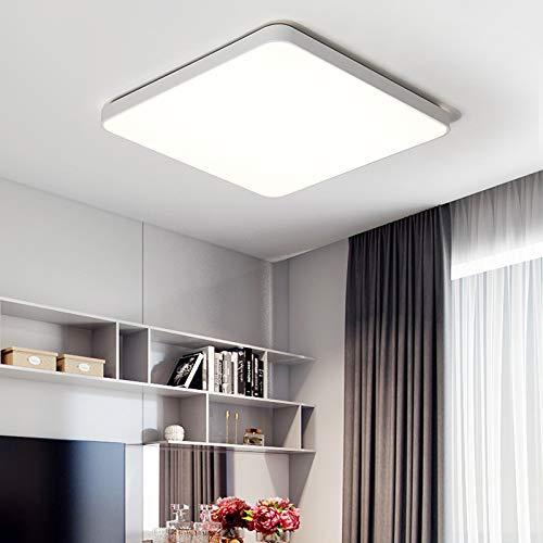 BFMBCHDJ Rechteckige Fernbedienung Wohnzimmer Schlafzimmer Küche Moderne Led Deckenleuchte Dekorative Deckenleuchte Weiß Helligkeit dimmbar 60x60x5cm 44w