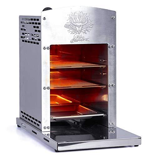 BRAST 800°C Oberhitzegrill Hochleistungsgrill incl. 2 Edelstahl-Grillrost + Auffangschale 2 Keramik-Brenner Steak Gasgrill Oberhitze Grill Infrarot