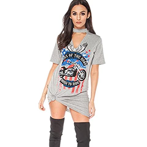 HOT!!! Amlaiworld Femmes Robe Vintage Rock style long t-shirt mini robe Tshirt de vacances Party occasionnel (XL, Gris)