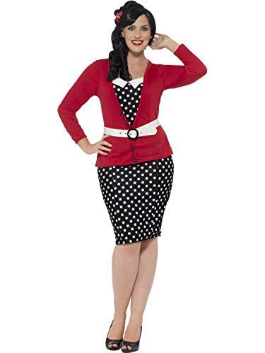 Frauen Curvy 50er Jahre Pin Up Girl Kostüm mit Kleid, vorgetäuschter Strickjacke, Gürtel und Kopfschmuck, perfekt für Karneval, Fasching und Fastnacht, 3XL, Schwarz ()