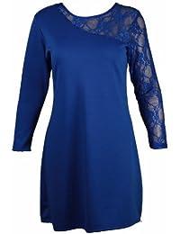 Frauen plus size Schulter Spitze Detail Kleid ponte Ausgehen Party Kleider