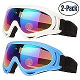 Gafas de Esquí, 2-Pack Gafas de Esquiar para Mujer Hombre, Niños, Juventud Chicos y Chicas, Con Protección UV 400, Resistentes al Viento, Lentes Anti-reflejo y Aislamiento a Prueba de Polvo