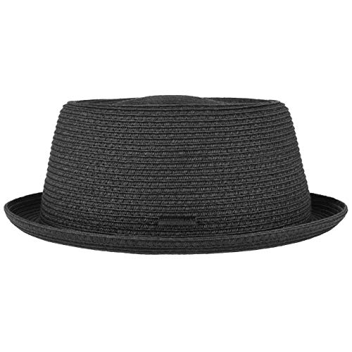 Stetson Dawson Black Pork Pie Herren - Sommerhut mit UV-Schutz 40 - Strandhut aus Papierstroh - Strohhut mit Flechtmuster - Sonnenhut Frühjahr/Sommer schwarz XL (60-61 cm)