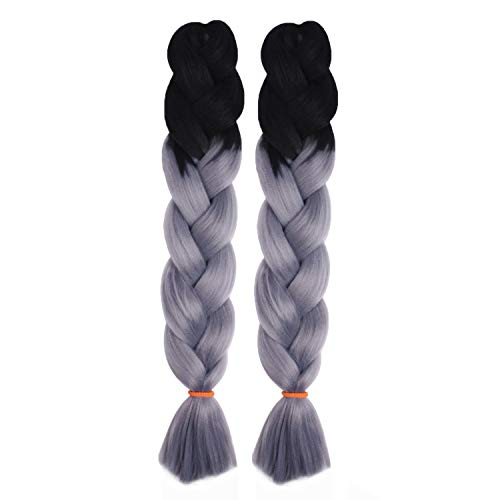 MapofBeauty 24 Zoll/60cm 2 Stück Afro Jumbo Flechten Haar Synthetik Haar Erweiterungen (Tief Granny Grau/Schwarz)