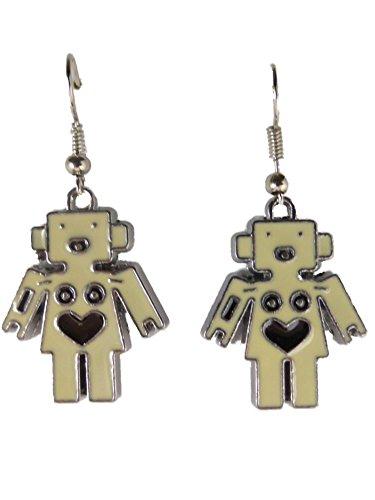 Ohrringe Ohrhänger Hänger silberfarben Roboter Mädchen Herz schwarz Liebe 9026