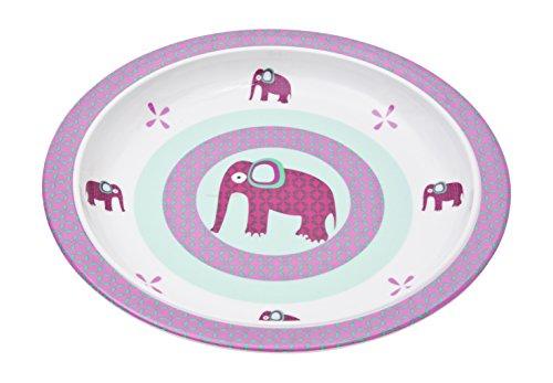 LÄSSIG Teller Kinder Baby Kleinkind rutschfest spülmaschinengeeignet Melamin/Plate Wildlife Elephant