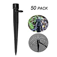 Plant Water Dripper Kit, 50pcs Micro Sprayer 360 Degree Adjustable Water Flow Irrigation Inserted Drippers Head for Home Garden Plant Lawn (8 Outlet Sprinklers)