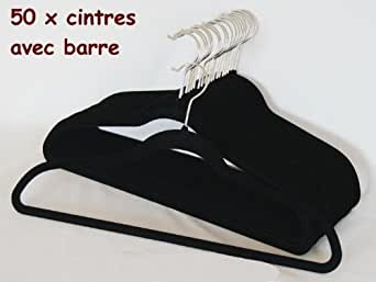 Smart-Hangers -- Lot de 50 Cintres avec barre NOIR -- anti-glisse, gain de place, Magic Cintres Velours