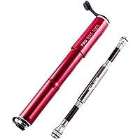 Mini Fahrradpumpe mit Manometer für Presta & Schrader Ventile- Hoher Druck bis 8,3 Bar - zuverlässig, kompakt & leichte Rahmenpumpe mit Druckmessgerät - Pumpe für Rennrad, Mountainbike
