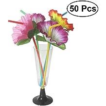 LUOEM Pajitas de flores de hibisco Pajas de bebida florales Pajas desechables flexibles flexibles Decoración de