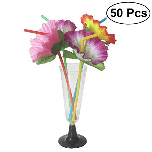 Foto de BESTOYARD - Pajitas de plástico de Luau tropical Hibiscus con flores, flexibles, flexibles, para beber pajitas decorativas desechables, decoración de mesa, paquete de 50 (color al azar)