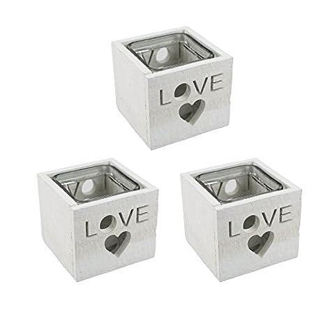 Teelichthalter Love 3 Stück weiß (Herz Glas Teelicht)