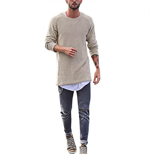 Tomatoa Herren Langarmshirt Bluse Lange Rundkragen Slim Fit T-Shirt Männer Pullover Sweatshirts Classics Hemden Tops Hoodie Hoody Motiv Long Sleeve Tee (Beige, M)