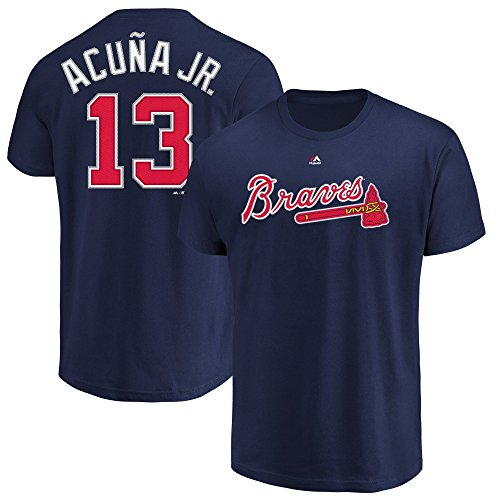 Majestic Athletic Ronald Acuna Jr Atlanta Braves #13 T-Shirt für Jugendspieler, Name & Nummer, Marineblau, Jungen, Navy, Medium Youth