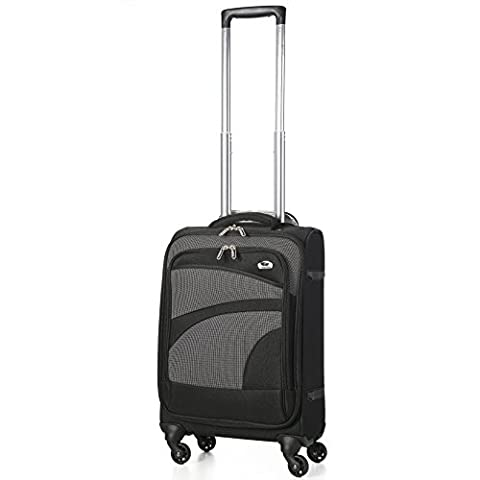 "Aerolite 21"" 55cm Super Lightweight 4 Wheel Spinner Carry On Cabin Hand Luggage Suitcase Travel Trolley Flight Bag Case (Black/Grey)"