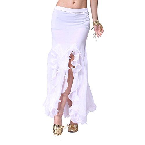Damen Tanzkleidung Bauchtanz Rock Tribal Lotus Edge Tanzen Kost¨¹me Maxi Rock Mermaid Kleid White