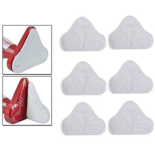 homiki Lot de 6 lingettes microfibres lavables pour Balai Nettoyeur H2O H20 X5 Blanc