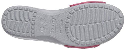Crocs Sarah W, Sandales - Femme Rouge (Raspberry/Light Grey)