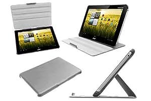 Navitech Multi Stand weißes Bycast Leder Case für das Acer Iconia Tab A210