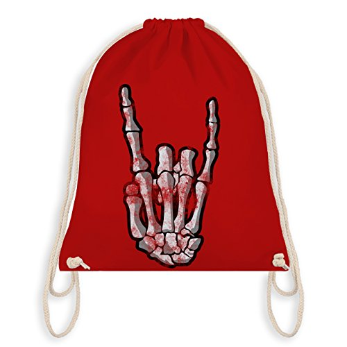 Shirtracer Metal - Metal Horns Skelett Hand - Unisize - Rot - WM110 - Turnbeutel I Gym Bag (Rote Rocker Traditionelle)