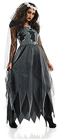 Halloween Morte Bride Costume - Femmes Noir Zombies Morts Corps Long Longueur