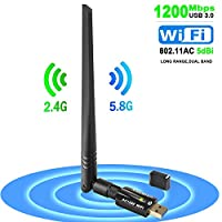 ANEWISH Wifi Dongle 1200mbps usb Wifi adapter Dual Band 5g 867M / 2.4g300M 802.11ac for Desktop PC/Laptop/Tablet/Phone Supports WindowsXP/7/Vista/8/10 MacOS:10.6~10.13Linux: (kernel 2.6.18~4.5)
