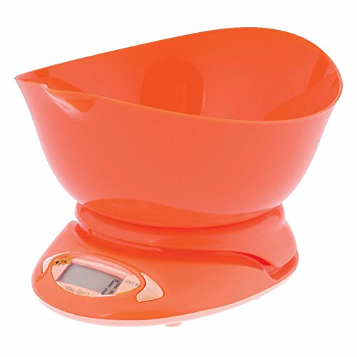 Amco Digital Kitchen Scales with Lipped Mixing Bowl Weighs up to 5kg/11lb Orange