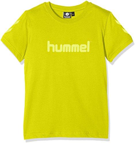 Hummel T-Shirt Jungen - JUNIOR V JAKI SS TEE AW17 - Trainingsshirt kurze Ärmel - Fitnessshirt Freizeit & Sport - Shirts 104-164 div. Farben Rundhals, Citronella, 164