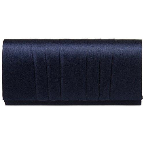 CASPAR TA390 elegante Damen Satin Clutsch Tasche Abendtasche mit vertikalen Falten, Farbe:dunkelblau;Größe:One Size (Abendtasche Satin Handtasche)