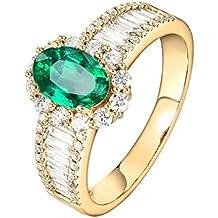 Epinki Oro de 18 Quilates Anillos Oval Forma Mujeres Anillo de Diamante Anillo de Confianza con