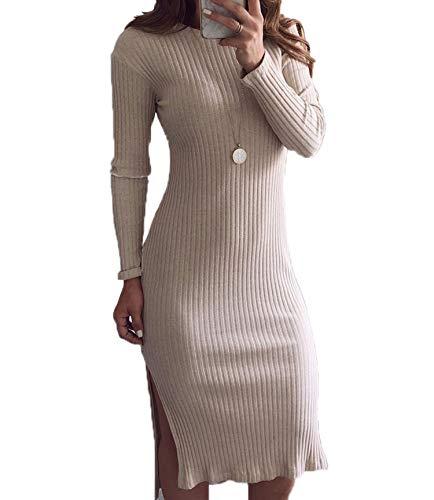47cb553b4 Mujeres Midi Vestido con Aberturas Cuello Redondo Manga Larga Vestido de  Suéter Slim Paquete de Cadera