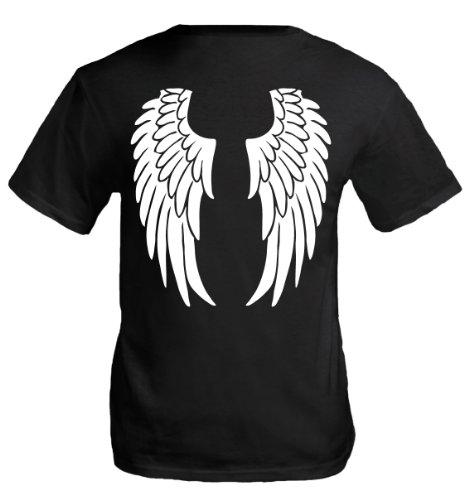 buXsbaum Herren T-Shirt Engelsflügel   Rückendruck   Karneval Fasching Halloween Kostüm Funshirt   M, ()