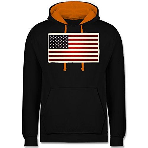 Kontinente - Flagge USA - Kontrast Hoodie Schwarz/Orange