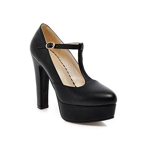 YCMDM Femmes Ultra Haut Avec Chaussures De Mode T Station Boucle Imperméable Plate-forme Simple Chaussures Black