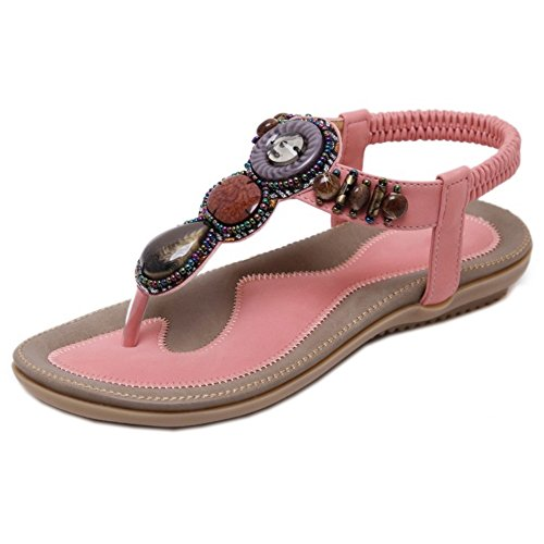COOLCEPT Femmes Retro Slingback Sandales Tongs Ecole Chaussures Rose