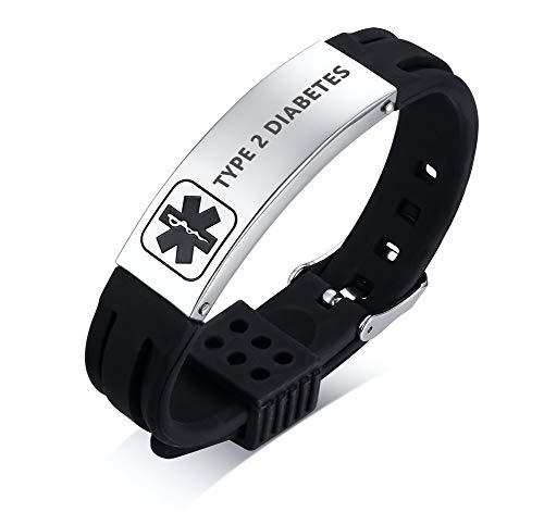 PJ JEWELLERY Type 2 Diabetes Silikon Komfort Sport Armband Notfall Medical Alert ID Armband für Männer Frauen Kid (Medical Alert Armband Frauen)