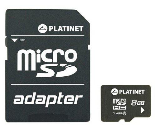 'Platinet 8GB microSDHC 8GB microSDHC Class 6Speicherkarte–Memory Karten (microSDHC, schwarz, Class 6, SD)